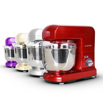 Klarstein Gracia Rossa Küchenmaschine Rührgerät (1000 Watt, 10-stufige Geschwindigkeit, 5 Liter-Rührschüssel) rot -