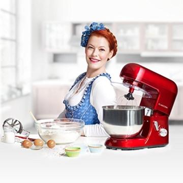 Klarstein TK1 Bella Rossa Küchenmaschine Rührgerät (1200 Watt, 5,2 Liter-Rührschüssel, 6-stufige Geschwindigkeit) rot -