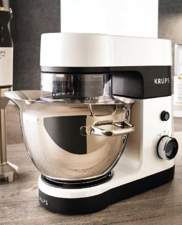 Krups KA3031 Küchenmaschine Perfect Mix 9000 (900 Watt, 4 L Volumen, 6 Geschwindigkeitsstufen) weiß / grau / edelstahl gebürstet -